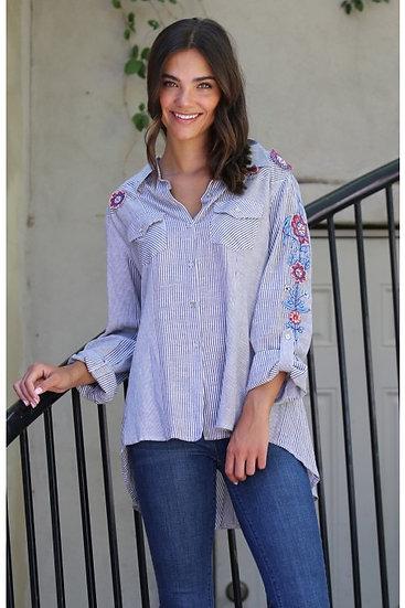 Rebecca Cotton Stripe Blouse w/ Embroidered Sleeve