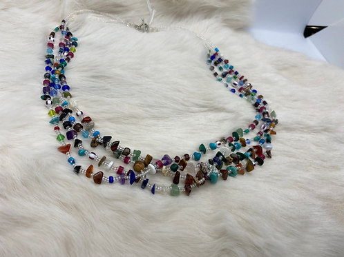 Rena Charles Treasure Necklace  Various stones and glass beads clear