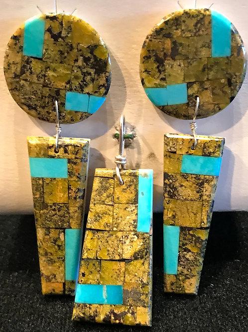 Inlay Earrings and Pendant Set, Calabazas of Santo Domingo Pueblo