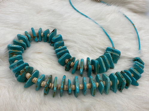 Heishi and Square Turquoise Necklace