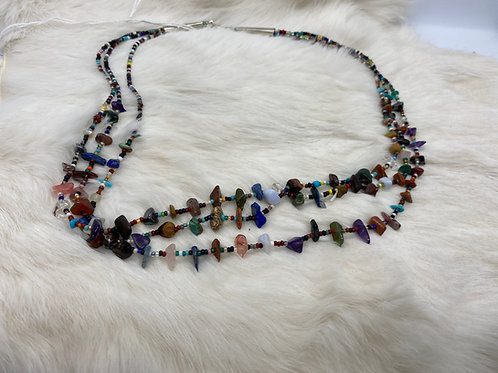 Rena Charles Treasure Necklace  Various stones and glass beads