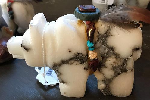 Stone Carved Bear with Burden Bundle, Bear Romero, Lakota