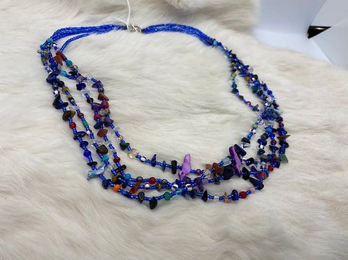 Rena Charles Treasure Necklace  Various stones and glass beads blue