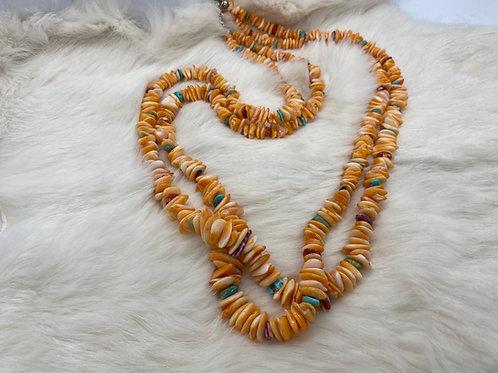 Joe Calabaza Jr. Necklace  Spiny oyster shell, two-strand
