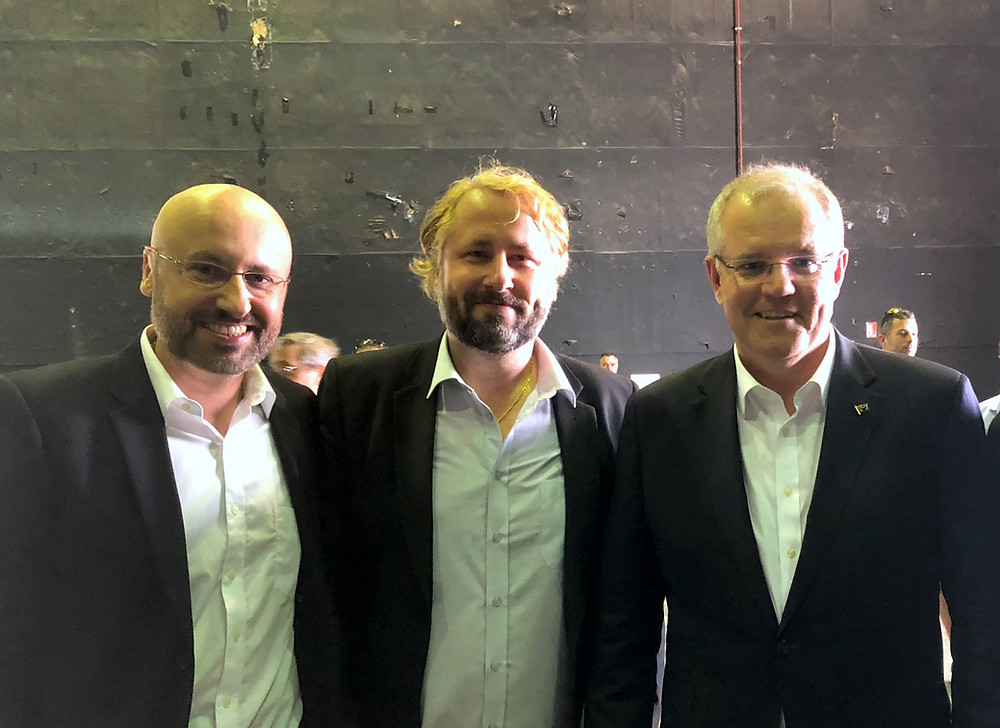 Creative Artists Law co-founders Kris and Kacper Kotwicki with Prime Minister Scott Morrison discussing Australia's film industry.