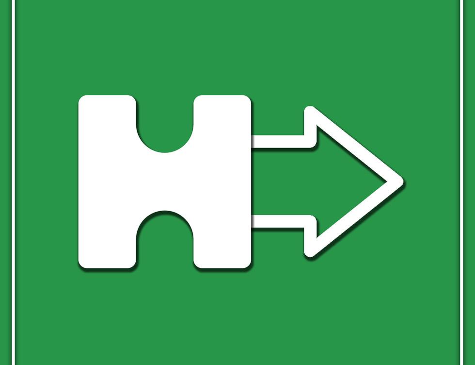 directional sign - altered company logo arrow design