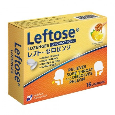 Leftose 90mg Lozenges (Honey Lemon) 16's