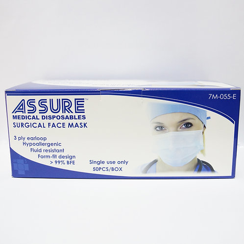Assure Surgical Face Mask with Ear Loops (7M-055-E) 50's