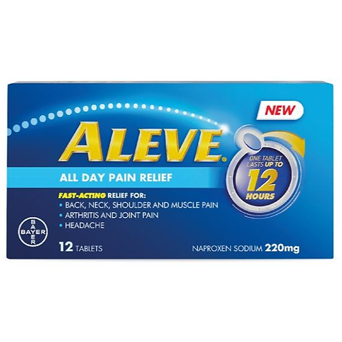 (Bundle of 2 boxes) Naproxen 220mg tablet (Aleve) 12's