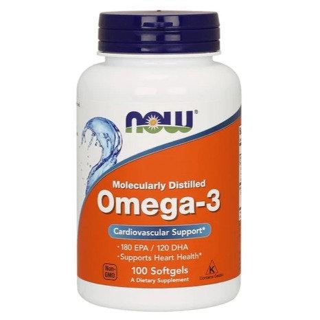 NOW Omega-3 Molecularly Distilled 100's Softgels