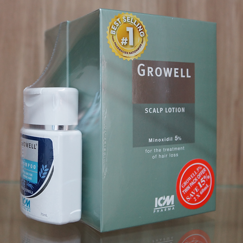 Growell 5% Scalp Lotion 60mL (Twin Pack) + Shampoo 75mL