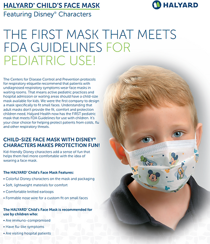Halyard Child Face Mask Teddy Bear 75's