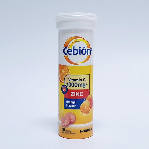 (Bundle of 40 tablets) Cebion Vit C 1000mg with Zinc Efferv Tablets 10's