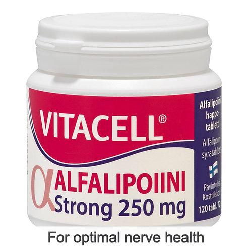 Hankintatukku Vitacell Alfalipoiini (Alpha-Lipoic Acid) Strong 250mg tabs 120's