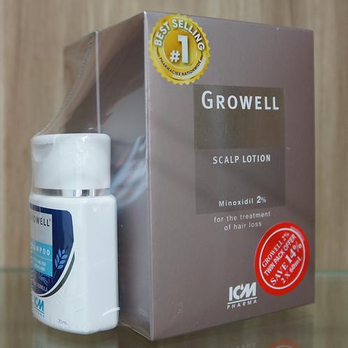 Growell 2% Scalp Lotion 60ML (Twin Pack) + Shampoo 75ML