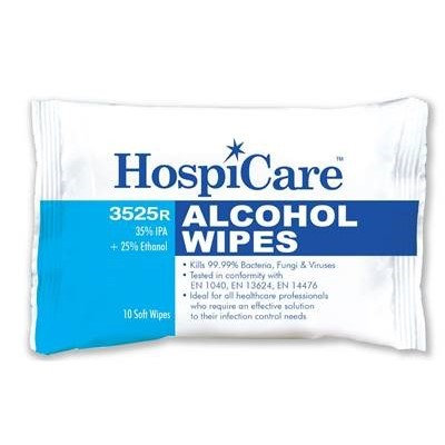 (Bundle of 10 packs) HospiCare 3525R Alcohol Wipes 10's