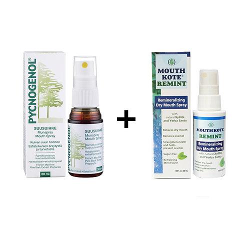 (Bundle) Pycnogenol Mouth Spray+ MouthKote Remint Dry Mouth Spray
