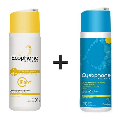 (Bundle Deal) Ecophane Biorga Shampoo 200mL + Cystiphane Biorga Shampoo 200mL