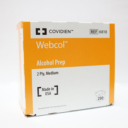 Covidien Webcol 70% IPA swabs 3cm x 3cm 200's