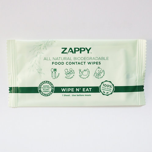 (Bundle of 2 Bags) Zappy All Natural Food Contact Wipes 100s