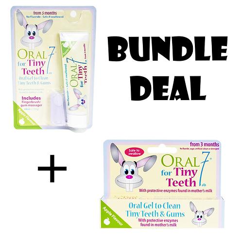(Bundle of 2) Oral 7 Tiny Teeth Oral Gel 55g (with 1 Fingerbrush)