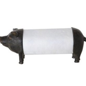 "14""L x 6""W x 6-1/4""H Resin Pig Paper Towel Holder"