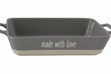 "14-1/2""L x 7-1/2""W x 2-3/4""H Stoneware Baker ""Made With Love"", Grey"