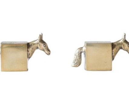 "4-3/4""L Cast Aluminum Horse Salt & Pepper Shakers w/ Brass Finish, Set of 2"