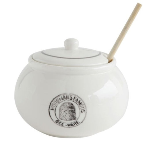 "4""H Stoneware Honey Jar w/ Wood Honey Dipper ""Woodman's Famous Bee-Ware"", White,"
