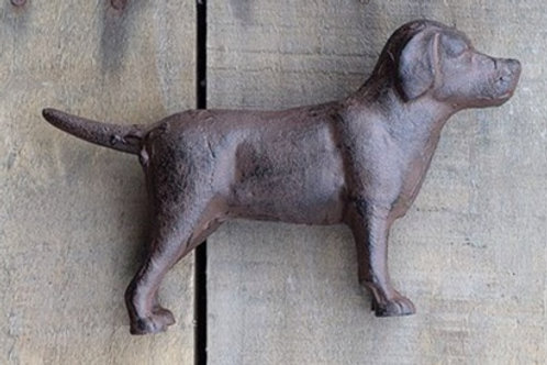 "Chocolate Lab Paper Weight 8""L Cast Iron Lab, 2 Colors"