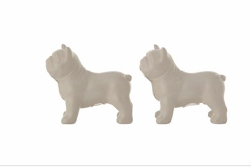 "3-1/2""L x 2-3/4""H Ceramic Bulldog Salt & Pepper Shakers, White, Set of 2"