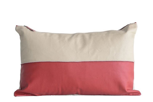 "22""L x 14""H Leather & Felt Backed Pillow, Red & Bone Color"