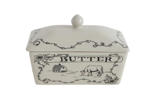 "6-3/4""L x 4""W x 4-1/2""H Stoneware Butter Dish ""Butter"""