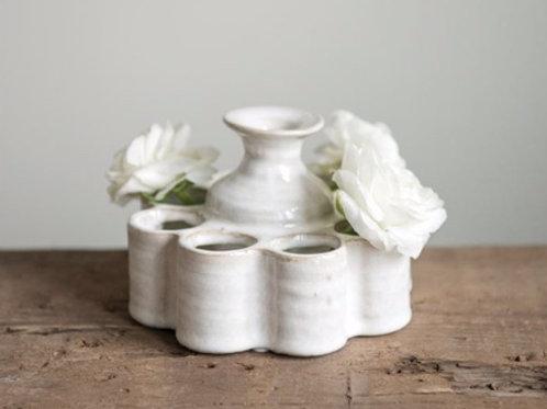 "5-1/2"" Round x 4""H Stoneware Vase w/ 9 Sections, White Reactive Glaze"