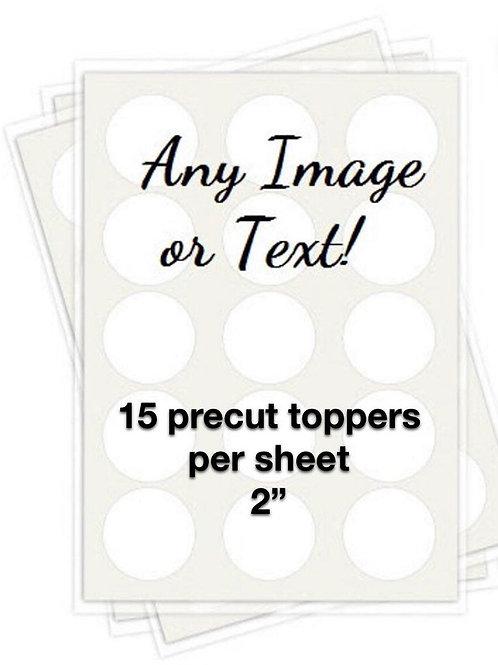 """2"""" precut edible toppers - 15 per sheet"""