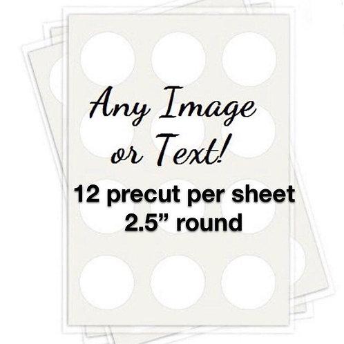"""2.5"""" precut edible toppers - 12 per sheet"""
