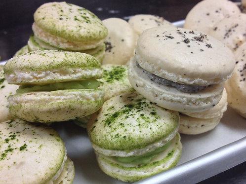 Matcha Black Sesame Macarons