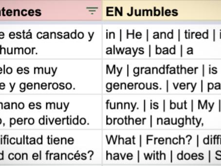 Jumbled: Spanish exam sentences (AQA 2018 F)