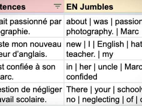 Jumbled: French exam sentences (AQA 2018 F)
