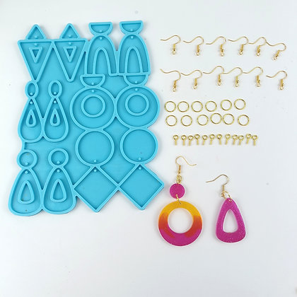 Mixed shapes earring silicone mould for epoxy resin art Australia