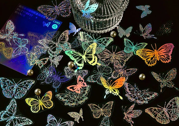 Holographic Laser Butterfly butterflies clear stickers slide transfer embed in resin