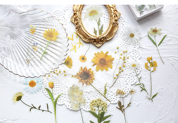 Daisy yellow flower clear stickers slide transfer embed in resin
