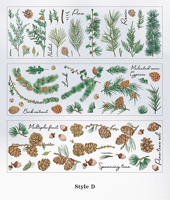 Pine Cones flowers floral fairy  leaves plant clear stickers slide transfer embed in resin