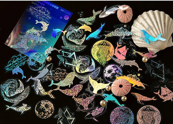 Holographic Laser sea life Ocean Whale clear stickers slide transfer embed in resin