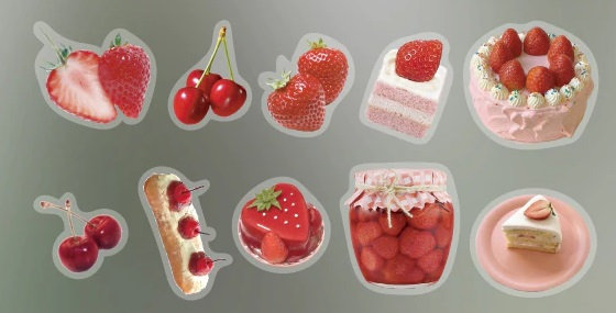 Strawberry shortcake cherries clear stickers slide transfer embed in resin
