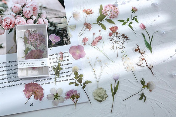 Dried rose flower clear stickers slide transfer embed in resin