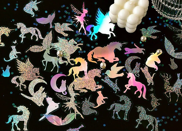 Holographic Laser Unicorn Pegasus Fairy Cat clear stickers slide transfer embed in resin