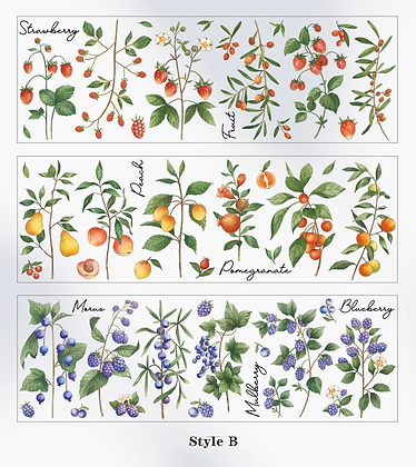 strawberry peaches blue berries fruit flowers floral fairy  leaves plant clear stickers slide transfer embed in resin