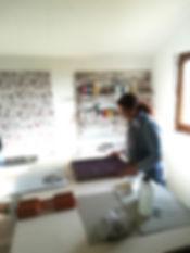 l'atelier de sérigraphie artisanale à Confançon All in sweet, Lucie Pontvianne.