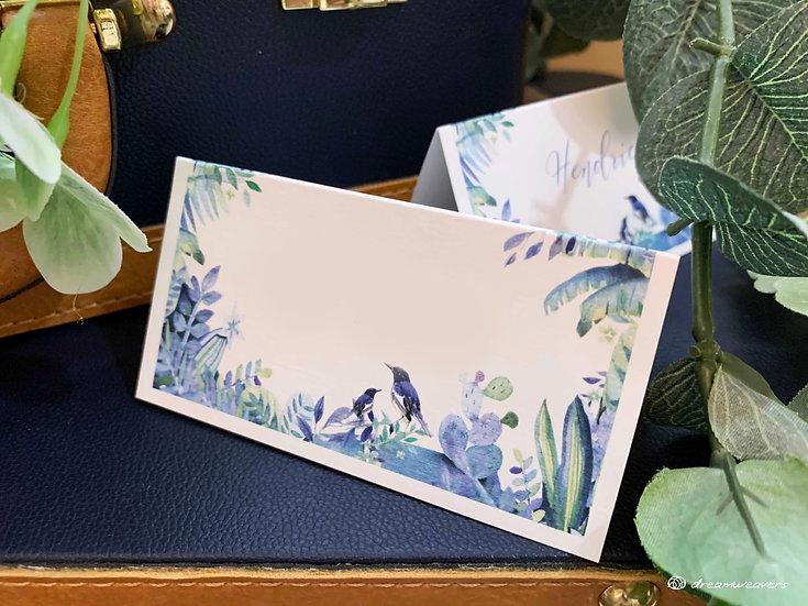 Blue Birds Place Card (Blank)